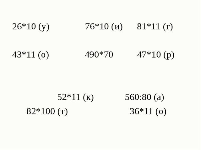 26*10 (у) 76*10 (и) 81*11 (г) 43*11 (о) 490*70 47*10 (р) 52*11 (к) 560:80 (а...