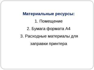 Материальные ресурсы: 1. Помещение 2. Бумага формата А4 3. Расходные материал