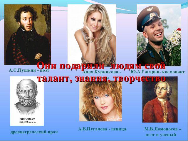 А.С.Пушкин - поэт Ю.А.Гагарин- космонавт Анна Курникова - теннисистка А.Б.Пуг...