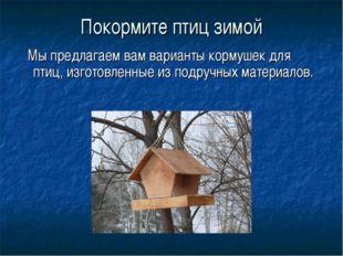 Покормите птиц зимой Мы предлагаем вам варианты кормушек для птиц, изготовлен