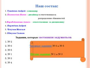 Наш состав: 1. Тувайкин Андрей - командир 2. Полянская Катя – дизайнер и отв