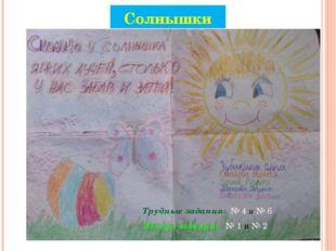 Солнышки Трудные задания: № 4 и № 6 Лёгкие задания: № 1 и № 2