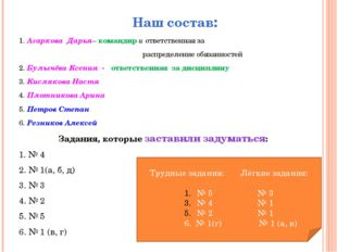 Наш состав: 1. Агаркова Дарья– командир и ответственная за распределение обяз