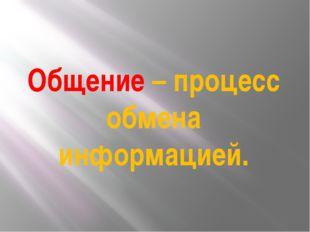 Общение – процесс обмена информацией.