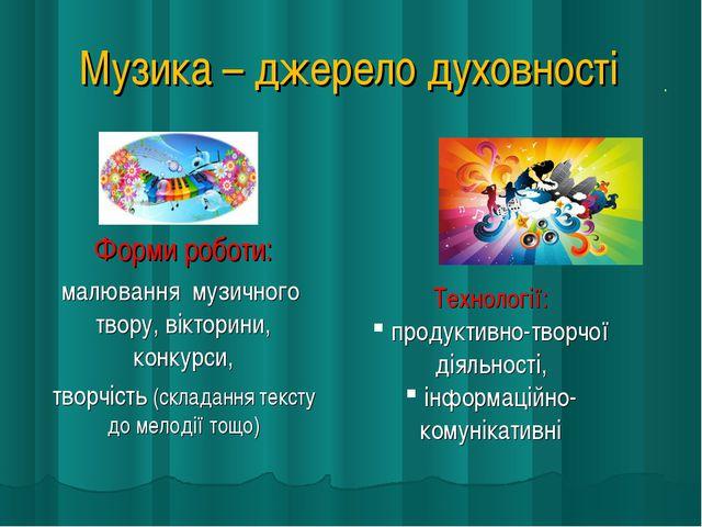 Музика – джерело духовності . Технології: продуктивно-творчої діяльності, інф...