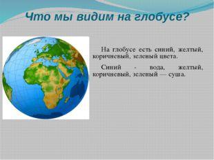 Что мы видим на глобусе? На глобусе есть синий, желтый, коричневый, зеленый ц