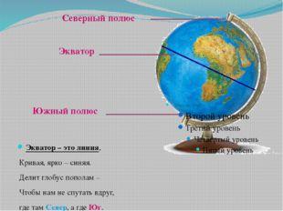 Экватор – это линия, Кривая, ярко – синяя. Делит глобус пополам – Чтобы нам н