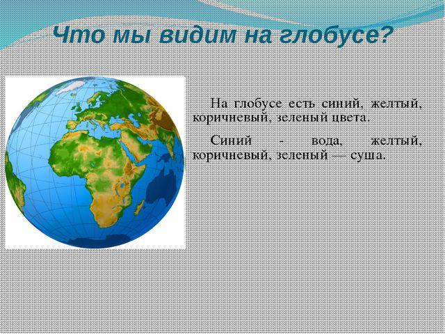 Что мы видим на глобусе? На глобусе есть синий, желтый, коричневый, зеленый ц...