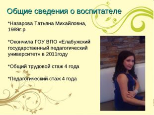 *Назарова Татьяна Михайловна, 1989г.р *Окончила ГОУ ВПО «Елабужский государст