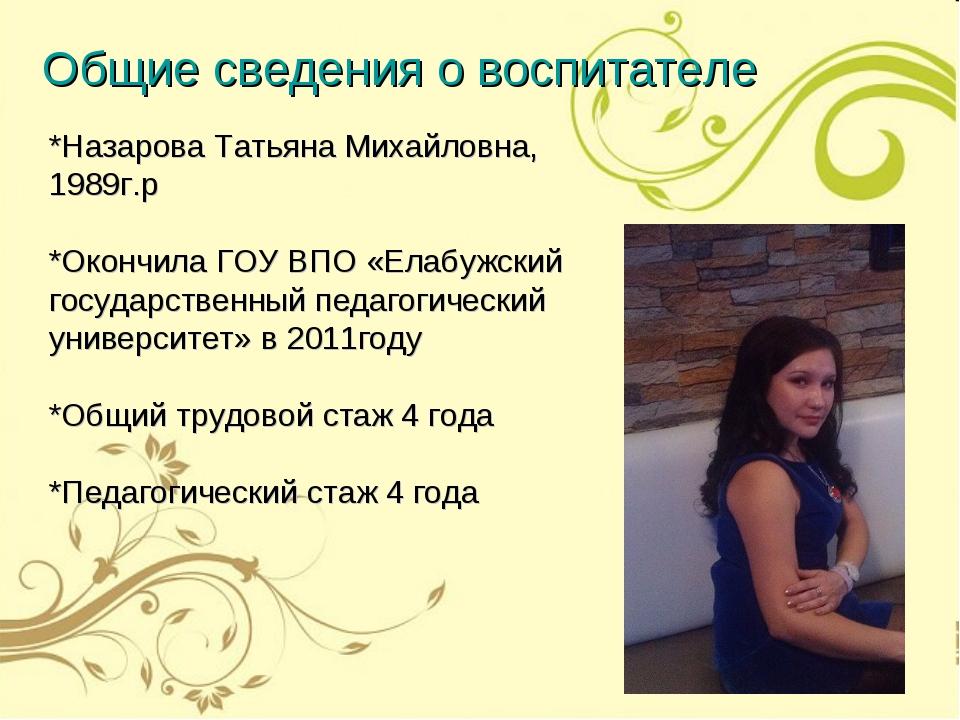 *Назарова Татьяна Михайловна, 1989г.р *Окончила ГОУ ВПО «Елабужский государст...