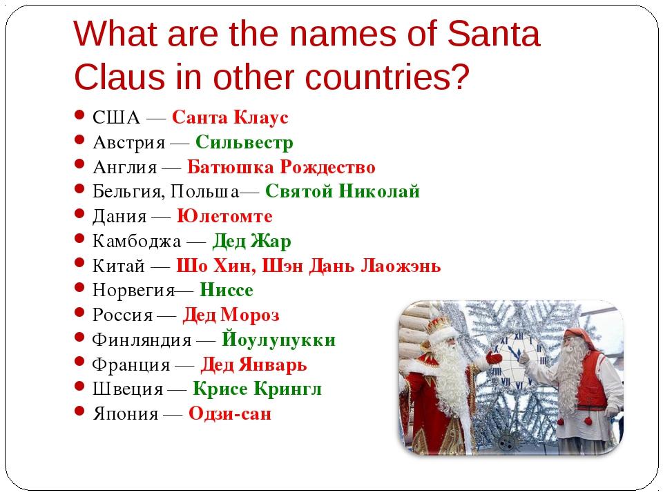 США — Санта Клаус США — Санта Клаус Австрия — Сильвестр Англия — Батюшка Р...