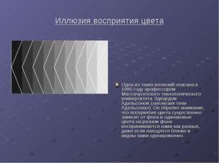 Иллюзия восприятия цвета Одна из таких иллюзий описана в 1995 году профессоро