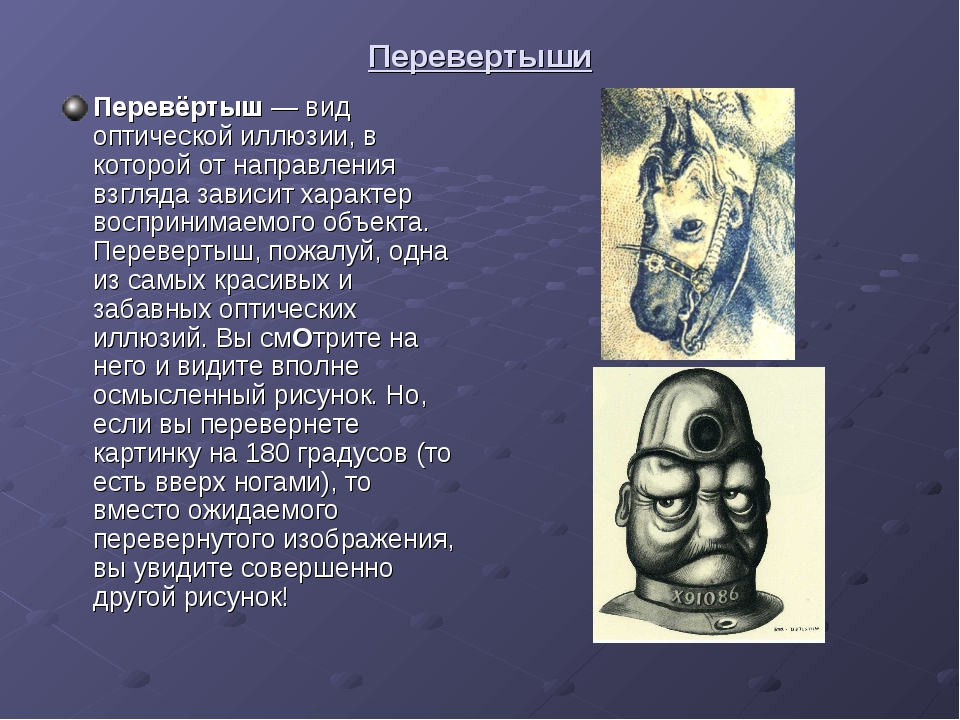Перевертыши Перевёртыш— вид оптической иллюзии, в которой от направления взг...