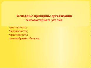Основные принципы организации сенсомоторного уголка: доступность; безопаснос