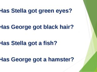1. Has Stella got green eyes? 2. Has George got black hair? 3. Has Stella go