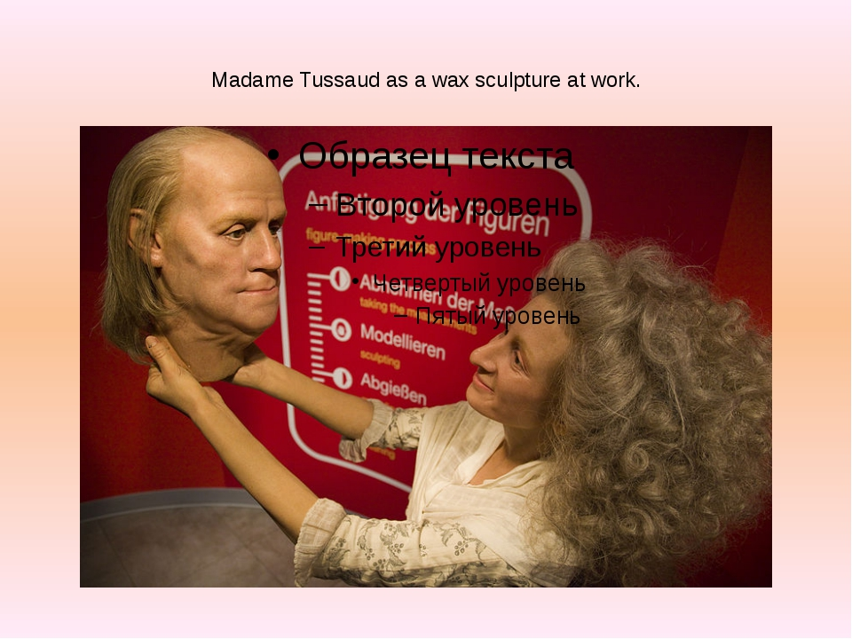 Madame Tussaud as a wax sculpture at work.