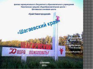филиал муниципального бюджетного образовательного учреждения Никитинская сред