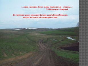 «…горки , пригорки, бугры, холмы тянутся во все стороны…» П.И.Мельников - Пе