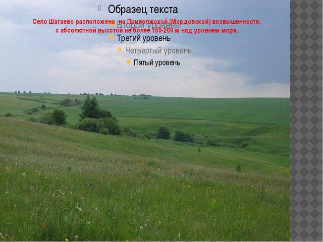Село Шагаево расположено на Приволжской (Мордовской) возвышенности, с абсолют...