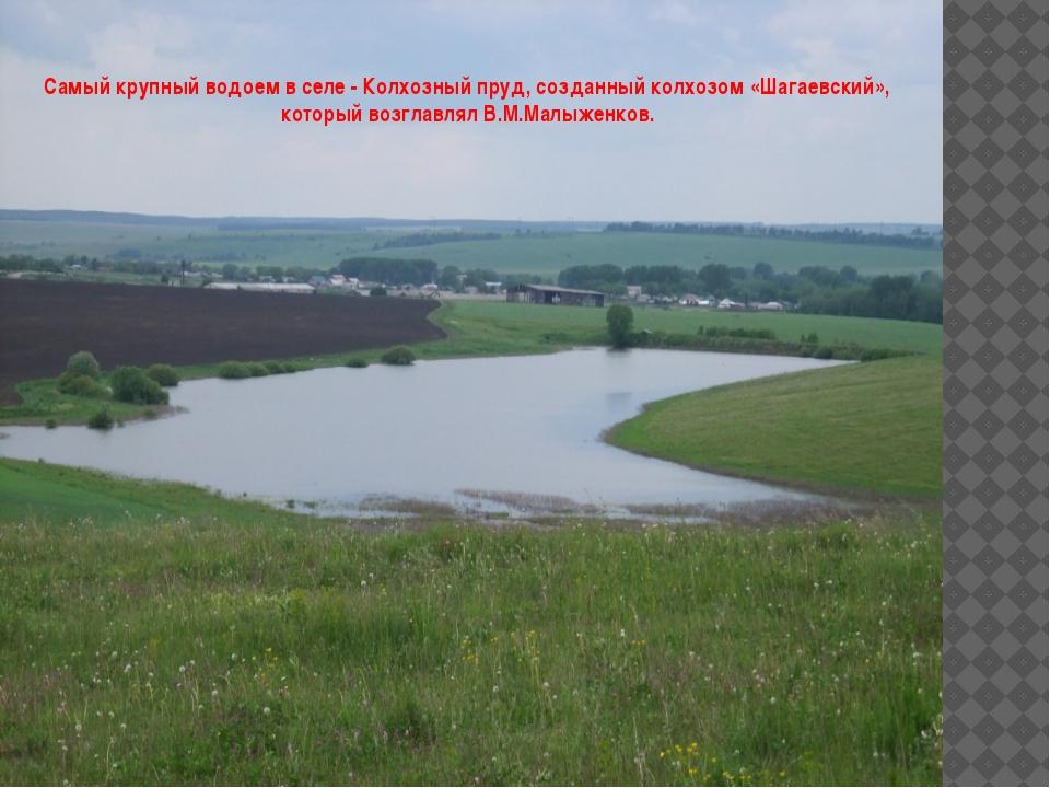 Самый крупный водоем в селе - Колхозный пруд, созданный колхозом «Шагаевский...