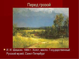 Перед грозой И.И.Шишкин. 1884г. Холст, масло. Государственный Русский музе