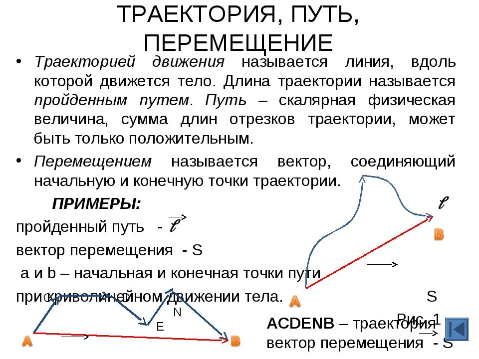 ТРАЕКТОРИЯ, ПУТЬ, ПЕРЕМЕЩЕНИЕ Траекторией движения называется линия, вдоль ко...