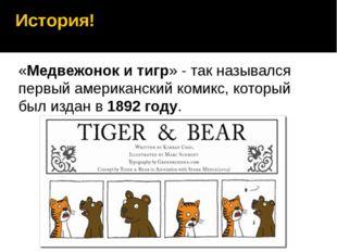 История! «Медвежонок и тигр» - так назывался первый американский комикс, кото