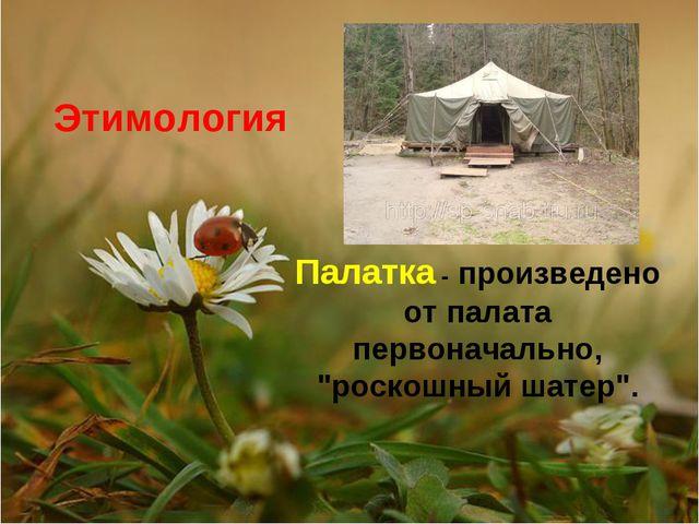 """Палатка - произведено от палата первоначально, """"роскошный шатер"""". Этимология"""