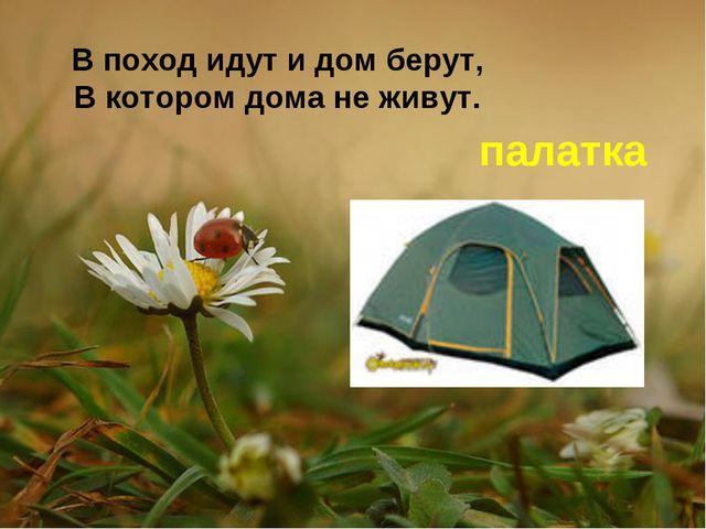 В поход идут и дом берут, В котором дома не живут. палатка