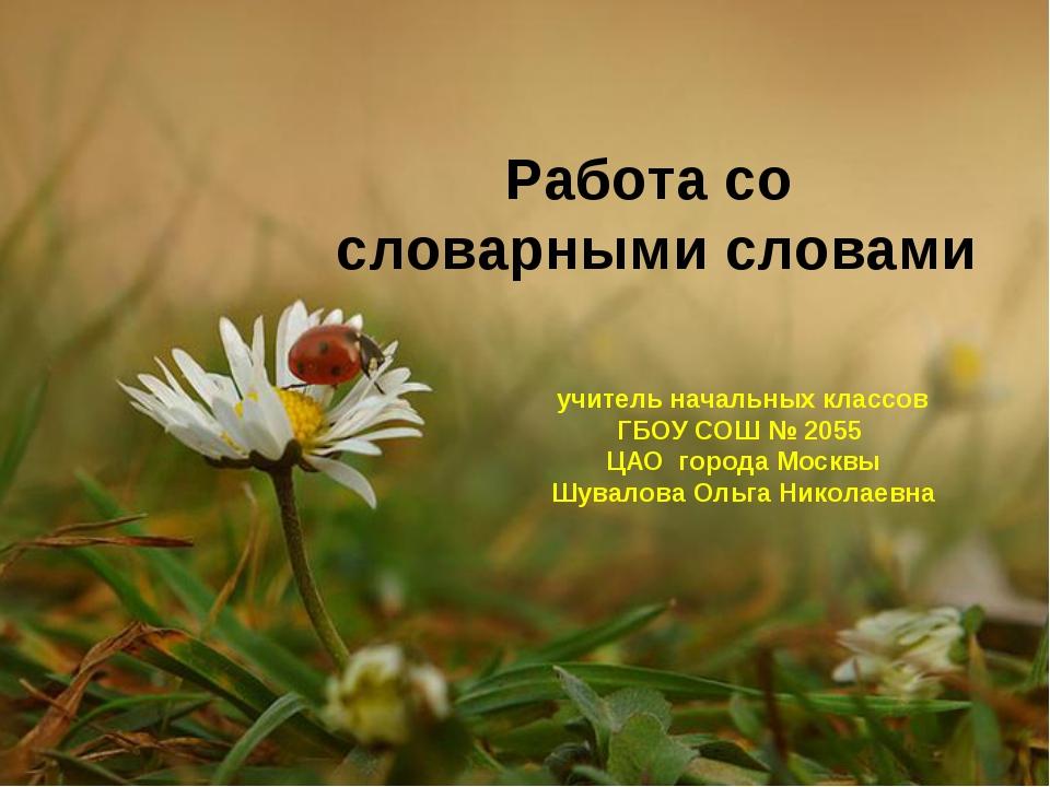 Работа со словарными словами учитель начальных классов ГБОУ СОШ № 2055 ЦАО го...