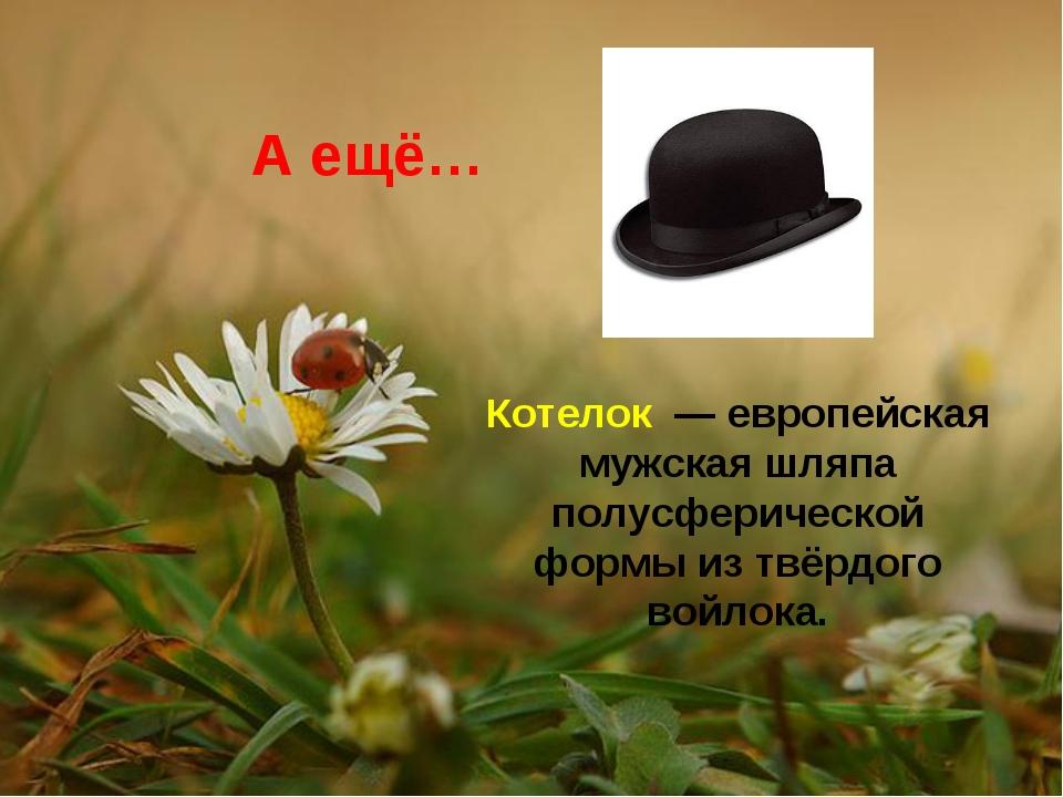 А ещё… Котелок — европейская мужская шляпа полусферической формы из твёрдого...