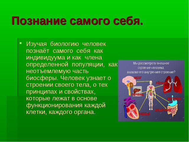 Познание самого себя. Изучая биологию человек познаёт самого себя как индивид...