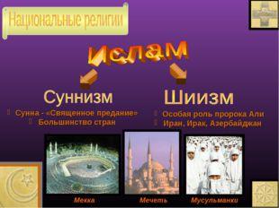 Сунна - «Священное предание» Большинство стран Особая роль пророка Али Иран,