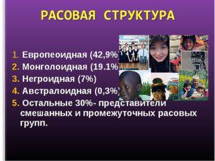 1. Европеоидная (42,9%) 2. Монголоидная (19.1%) 3. Негроидная (7%) 4. Австрал