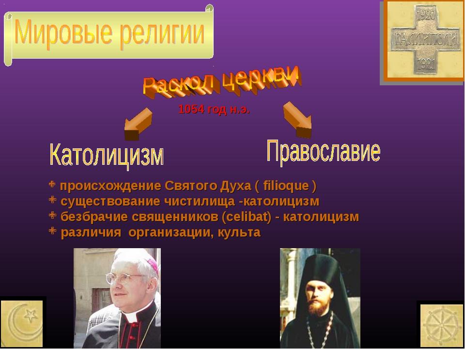 происхождение Святого Духа ( filioque ) существование чистилища -католицизм...