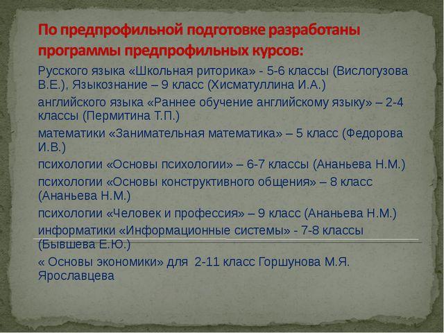 Русского языка «Школьная риторика» - 5-6 классы (Вислогузова В.Е.), Языкознан...