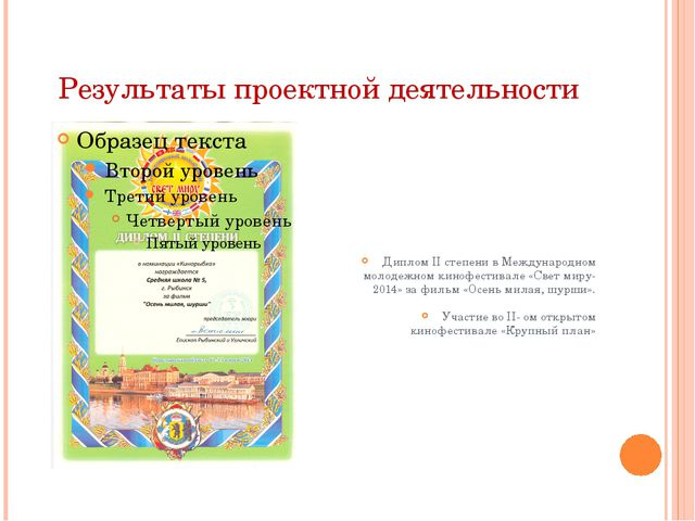 Результаты проектной деятельности Диплом II степени в Международном молодежно...