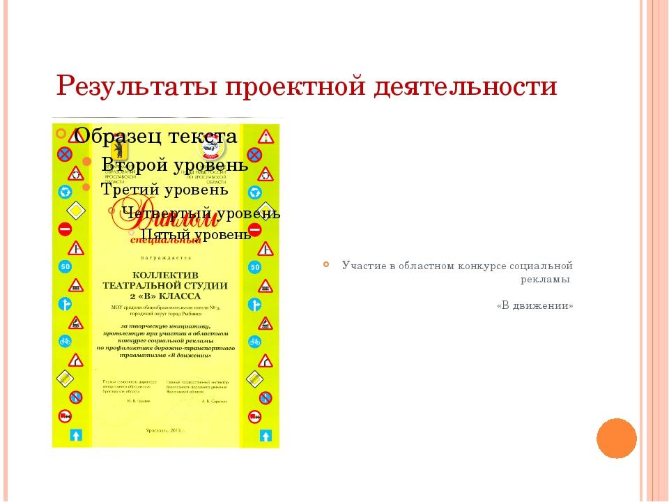 Результаты проектной деятельности Участие в областном конкурсе социальной рек...