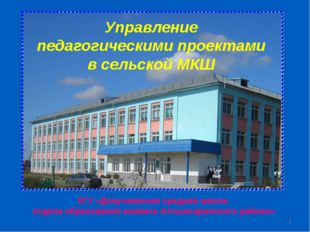 * Управление педагогическими проектами в сельской МКШ КГУ «Докучаевская средн