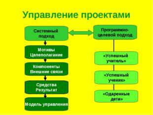 Управление проектами Системный подход Программно- целевой подход «Успешный уч