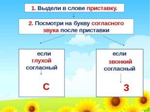 если глухой согласный С если звонкий согласный З 1. Выдели в слове приставку