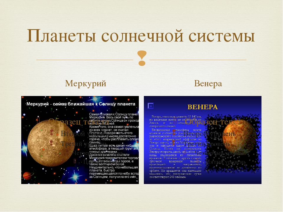Планеты солнечной системы Меркурий Венера 