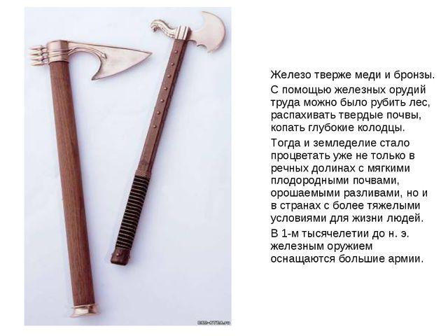 Железо тверже меди и бронзы. С помощью железных орудий труда можно было рубит...