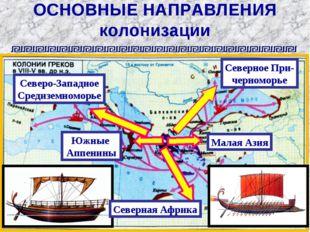 ОСНОВНЫЕ НАПРАВЛЕНИЯ колонизации Малая Азия Северное При- черноморье Южные Ап