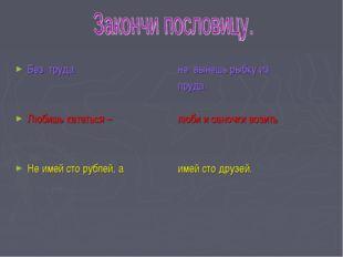 Без труда Любишь кататься – Не имей сто рублей, а не вынешь рыбку из пруда. л