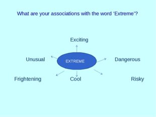 What are your associations with the word 'Extreme'? Exciting Unusual Dangerou