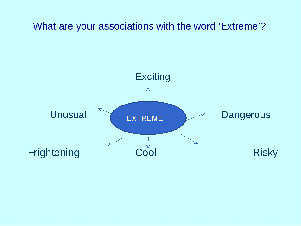What are your associations with the word 'Extreme'? Exciting Unusual Dangerou...