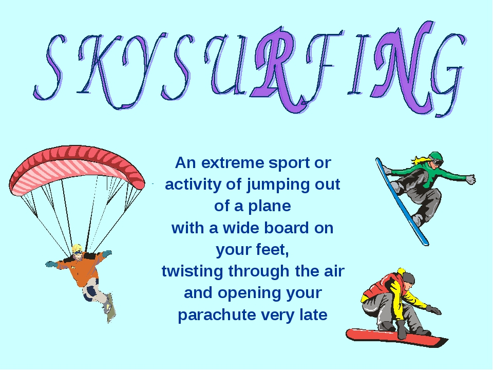 An extreme sport or activity of jumping out of a plane with a wide board on y...