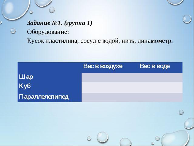 Задание №1. (группа 1) Оборудование: Кусок пластилина, сосуд с водой, нить, д...