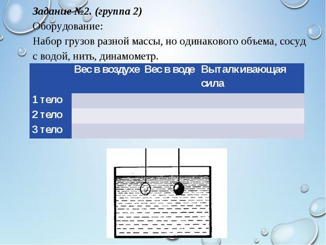Задание №2. (группа 2) Оборудование: Набор грузов разной массы, но одинаковог...